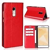 Copmob Funda Xiaomi Redmi Note 4X,Premium Flip Billetera Funda de Cuero,[Función de Soporte][3 Ranura para Tarjeta][TPU a Prueba de Golpes],Carcasa Xiaomi Redmi Note 4X - Rojo