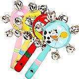 Kanggest.Handbell de Madera del Bebé Silbato y Sonajeros de Madera para Bebé Campana Educativa Instrumentos Musicales Infantiles Juguetes Educativo para Niños Bebes(Color al Azar)