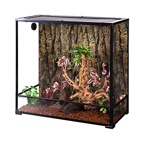"""REPTI ZOO Large Glass Reptile Terrarium 100 Gallon, Front Opening Reptile Habitat Tank 36"""" x 18""""x 36"""", Wide & Tall Chameleon Cage with Top Screen Ventilation (Knock-Down)"""