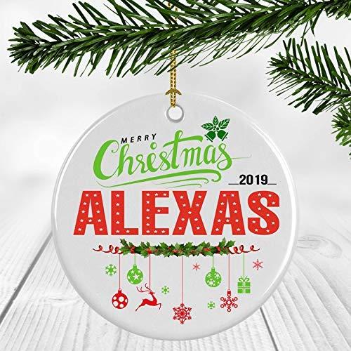 Bru565und Ceramic Christmas Tree Ornaments - Babys First Christmas Ornament 2019 With Name Alexas - Ceramic Ornament 3 inches White
