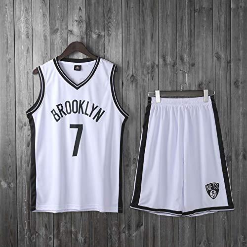 HS-XP Boys Girls Hombres Adultos NBA Brooklyn Nets # 7 Kevin Durant Basketball Jerseys Traje Trajes De Verano Top + Corto, 100% Poliéster, No Fade,Blanco,4XL(Adult) 180~185CM