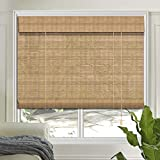 LETAU Wood Window Shades Blinds, Bamboo Light Filtering Roller Shades, Pattern 12