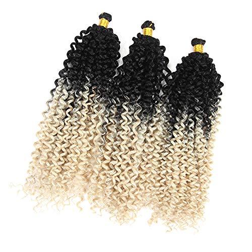 "6Packs Synthetic Water Wave Crochet Braiding Hair 14"" Black Blonde Bohemian Style Afro Kinky Twist Crochet Hair Bundle Extensions (1B/613)"