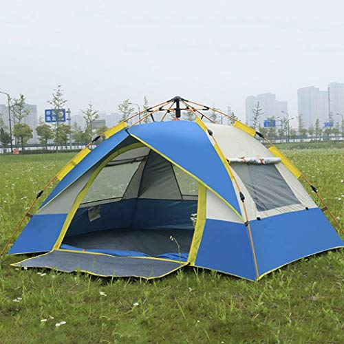 WEN Family Tents for Camping,Huge Cabin Tent For 3-4 Person Waterproof Large Tent (Color : Blue)