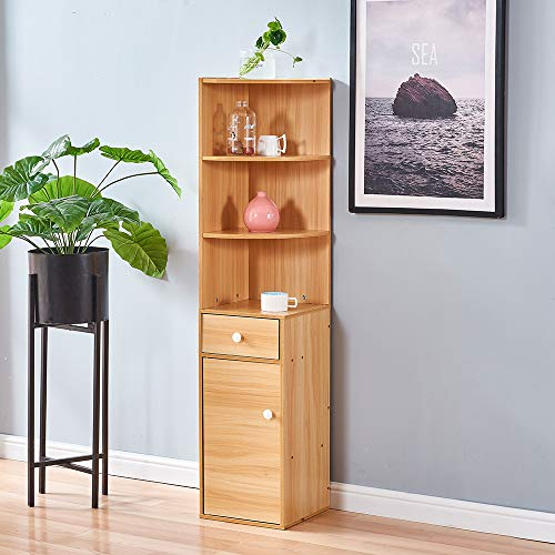 HomeSailing Living Room Wood Cabinet with Drawers and Wine Rack Corner Unit Storage Display Shelves Bedroom Cupboard Sideboard for Small Dorm Apartment