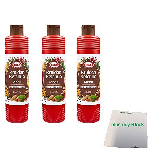 Hela Kruiden Ketchup Pinda 3er Pack (3x800ml Flasche Kräuter Ketchup Erdnuss) + usy Block
