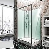 Schulte Fertigdusche Komplettdusche 120 x 80 cm Duschtempel Ibiza, 5 mm Sicherheits-Glas, Profile alu natur, Rückwände light-grün, Duschwanne weiß