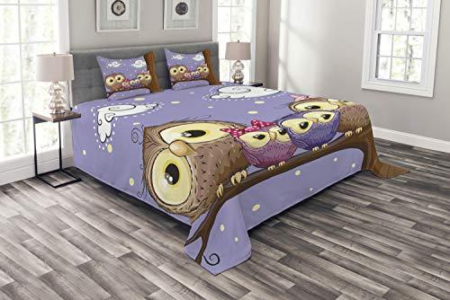 ABAKUHAUS Vogel Tagesdecke Set, Cartoon-Stil-Eulen-Familie, Set mit Kissenbezügen Sommerdecke, für Doppelbetten 220 x 220 cm, Lavendel & Braun