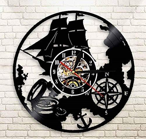 xiaoxong658 Reloj De Pared De Vinilo Tema De Navegación Reloj De Pared De Disco De Vinilo Lámpara De Pared Mágica De Marinero Diseño Retro Náutico Luz De Noche