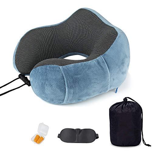 SenPuSi Reiskussen, nekkussen, comfortabel, reizen, nekkussen, geheugenschuim met slaapmasker en oordopjes in het vliegtuig, de trein, auto aan - blauw