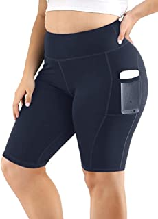 Uoohal Women's Yoga Shorts Plus Size High Waist Workout Biker Active Shorts Tummy Control Side Pockets