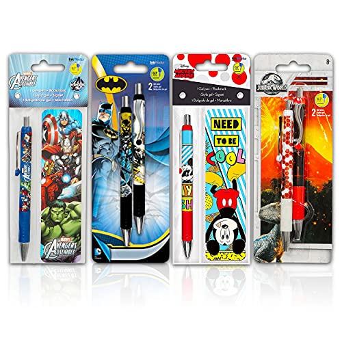 Premium Ballpoint Pen Set for Boys Bundle - 4 Pack Marvel Avengers, Jurassic World, Batman, And Mickey Mouse Pen Value Pack with Bookmarks (School Supplies Office Supplies)