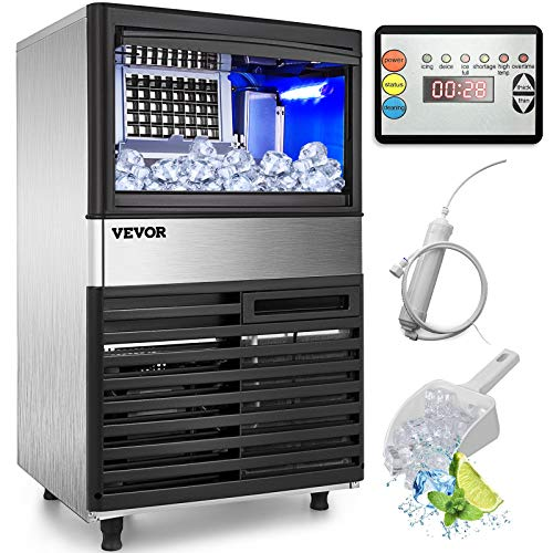 VEVOR 110V Commercial Ice Maker 132LBS/24H with 39LBS Bin, Clear Cube, LED Panel, Stainless Steel, Auto Clean, Include Water Filter, Scoop, Connection Hose, Professional Refrigeration Equipment