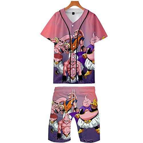 GMANKEE Casual Camisetas Pantalones Cortos Y Mangas Cortas Deportes Ocio Pijama T-Shirt Ropa De Salón Ropa Hombre Pijamas Mujer Dragon Ball Goku Anime Ropa,XXL