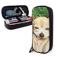 ペンケース 流行に敏感なチワワ犬の鉛筆ケース、ペンと他の学用品のための耐久性のあるジッパー学生文房具ペンバッグ付き大容量鉛筆バッグ