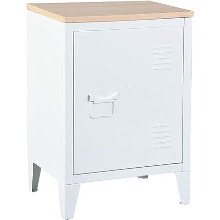 MEUBLE COSY Table de Chevet Petit meuble en Acier Blanc, Casier en Métal avec Deux étagères et d'un dessus en oak