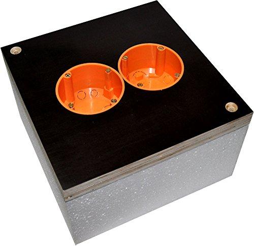 Montagequader WDV/WDVS bei Fassadendämmung für Doppel- Steckdosen/Schalter (Bei Dämmung 080mm)