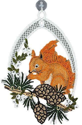 Plauener Spitze Fensterbild Eichhörnchen 18x26 cm + Saugnapf Herbstmotiv Wald Fensterschmuck Herbst