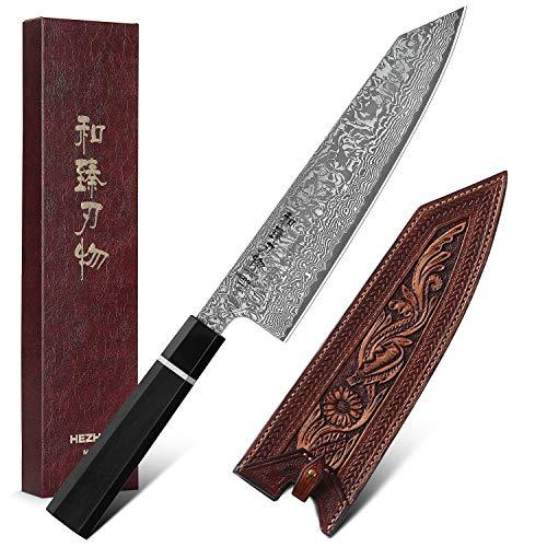 HEZHEN Kiritsuke Chef Knife 83 Inch Gyuto Knife 67 Layer Forged Damascus Steel Kitchen Knife Ergonomics Octagonal Ebony Wood Handle Superior Vegetable Tanned Leather Sheath