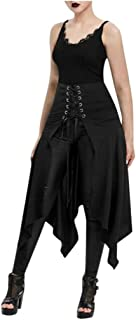 FEISI22㉿ Womens Lace Up Retro Punk Cincher Vintage Long Dress Steampunk Gothic Victorian High Low Skirt Bustle Skirt