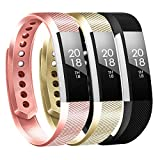 Baaletc Replacement Bands Compatible Fitbit Alta, Alta HR and Fitbit Ace, Classic Accessories Band Sport Strap for Fitbit Alta HR Large&Small 3Pcs Rose Gold/Champagne Gold/Black