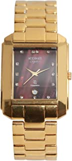 Casual Watch for Men by Accurate, Gold, Rectangle, AMQ1224