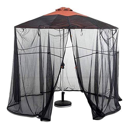 GANG Pantalla de Mesa de Sombrilla de Jardín Al Aire Libre 11Ft Parasol Mosquito Net Cover Funda de O, Diámetro 3.35M, Poliéster, Puerta Individual, Entrada con Cremallera Elástico
