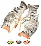 [Asifn] 魚の形 スリッパ 男女兼用 軽量 通気性 面白い バスルーム 良好な柔軟性 ユニーク 面白いデザイン ビーチサンダル black-42-43