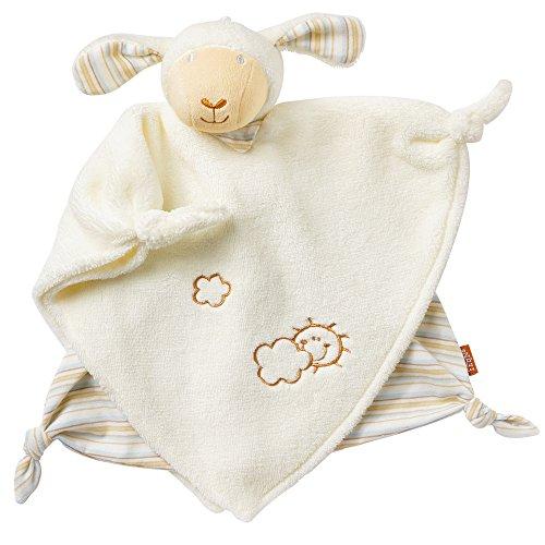 Fehn 154788 Schmusetuch Schaf Deluxe – Schnuffeltuch mit Schaf-Köpfchen – Zum Greifen für Babys und Kleinkinder ab 0+ Monaten – Maße: 30 cm