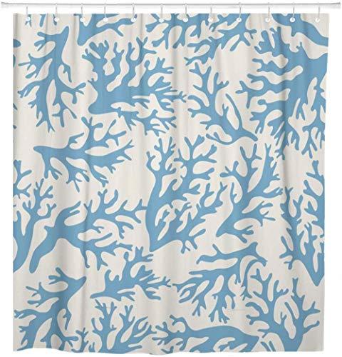 None brand Rote Meereskoralle auf Beige im Vintage-Stil Blue Reef Bunte Shell Bio-Duschvorhang wasserdicht mit Haken-B120xH180cm