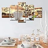 SGJKG Carteles de Lienzo, Arte de Pared, Impresiones en HD, imágenes, 5 Piezas, café, Croissant, Pinturas de Comida, Cocina y Restaurante, decoración del hogar
