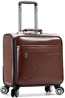 Trolley Case Bag 16 inch Retro Small Cabin Travel and Suitcase Leather on Wheel Travel Luggage Carry-Ons (Color : Brown)