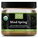 Gaia Herbs Mind Spring Mushroom and Herb Powder, Brain and Cognitive Support, Lion's Mane, Turmeric, Gingko, Daily Herbal Supplement, 3.53 Ounce