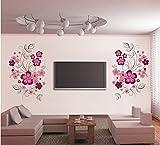 ufengke Clusters of Flores Rosa Vinilos Decorativos Decorativo Extraíble DIY Vinilo Pared Calcomanías Mural para Sala de Estar, Dormitorio, Pared Familiar, TV Mural de Pared