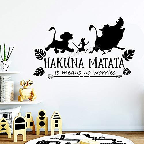 Película de dibujos animados León Simba Rey Hakuna Matata significa No te preocupes Citas Corriendo Animales lindos Etiqueta de la pared Calcomanía de vinilo Niño Niños Fans Dormitorio Sala