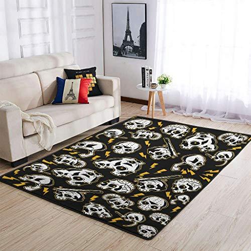 Zhouwonder Alfombra de lujo con diseño de calavera, para dormitorio, sala de estar, texto blanco, 122 x 183 cm