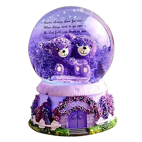 Difusor De Aceites Esenciales Globo De Nieve Caja De Música Lavanda Púrpura Oso Bola De Cristal Luces Copos De Nieve Regalo De Cumpleaños Para Novia