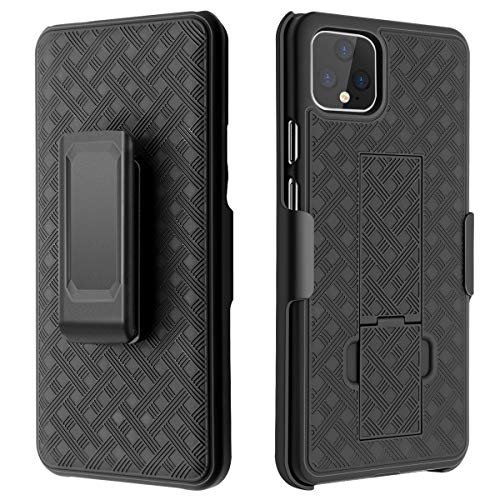 Google Pixel 4 XL Case,Casewind Google Pixel 4 XL Case with Belt Clip Phone Cover Slim Combo Shell with Kickstand Swivel Clip Holster Shockproof Sturdy Full-Body Protection Pixel 4 XL Case,Black