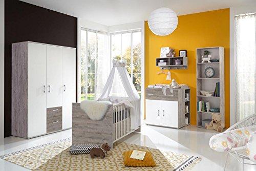 lifestyle4living Babyzimmer Komplett Set für Jungen & Mädchen, weiß, grau, Möbel in Sand-Eiche | Modernes Baby Kinderzimmer (Komplettset) 4 teilig mitwachsend