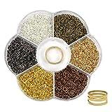 TOAOB 2400 Stück Biegeringe Spaltringe 4mm 6 Farben Metall Kettenringe mit Ring Öffner Näher für Perlenweben Zubehör