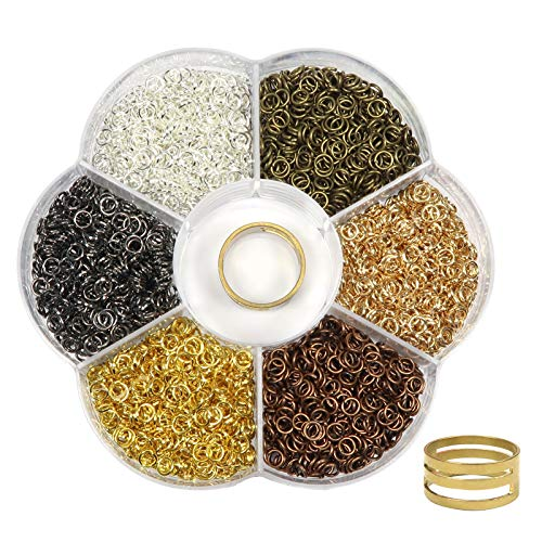 TOAOB 2400pcs Multicolour Open Jump Rings 4mm and Opener Tool for Jewelry Making