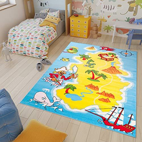 TAPISO Kinder Teppich Kurzflor Spielplatz Spielteppich Piraten Schatzkarte Muster Blau Gelb Bunt Kinderzimmer ÖKOTEX 160 x 220 cm