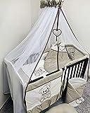 Baby Canopy Drape/Mosquito Net + Soporte de pie para cuna de bebé, color marrón