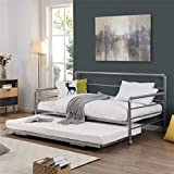 Trundle Daybed with Casters, Twin Daybed with Adjustable Pop Up Trundle, Premium Metal Slat Support, for Kids Teens Adults (Silver)