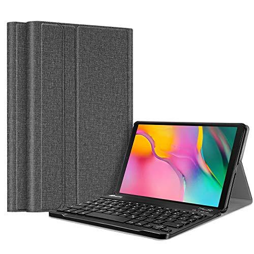 Fintie Tastatur Hülle für Samsung Galaxy Tab A 10.1 2019 SM-T510/T515 Tablet - Superdünn leicht Schutzhülle mit magnetisch Abnehmbarer drahtloser Deutscher Bluetooth Tastatur, Jeansoptik dunkelgrau