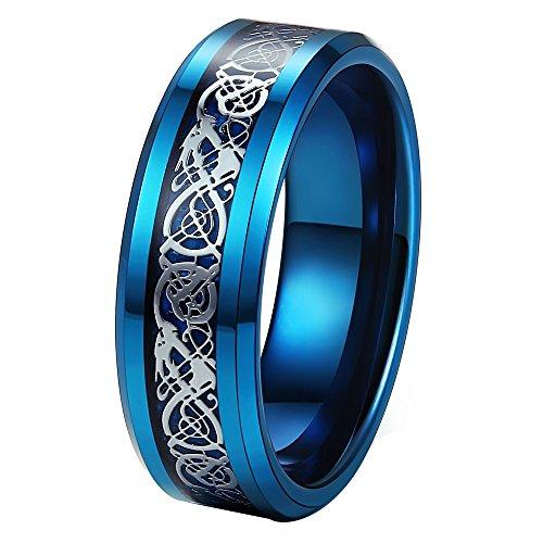 LANHI Anillo de boda de 8 mm de acero inoxidable con incrustaciones de fibra de carbono, diseño de dragón celta, borde biselado, para hombre azul