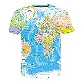 BZPOVB T-Shirts Refroidir La Mode Unisexe Chemises à Manches Courtes 3D Creative Imprimé World Painted Carte Graphique Personnalité de La Mode T-Shirts (Color : Multi-Colored, Size : XL)