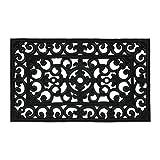 Relaxdays Felpudo de Goma, 45 x 75 cm, Resistente a la Intemperie, Antideslizante, con Adornos, para Interior y Exterior, Color Negro