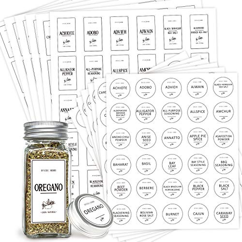 Meviton White Spice Labels Preprinted, 360 Farmhouse Waterproof Spice Labels Stickers for Kitchen Organization, Modern Minimalist Label Stickers for Spice Jars, Mason Jars, Cruet Container