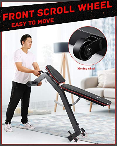 MaxKare Weight Bench Adjustable Weight Bench with 1000lbs Load Capacity 9+3 Levels Adjustable for Strength Training Resistance Band Full Body Exercise for Home Gym Indoor Workout